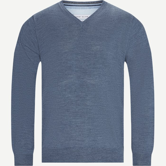 Salina V-hals Striktrøje - Strik - Regular - Denim